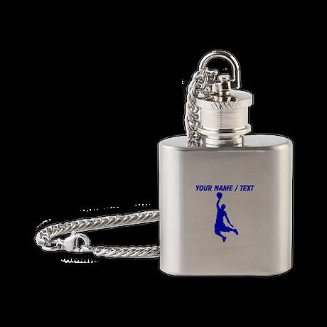 Custom Blue Basketball Dunk Silhouette Flask Neckl