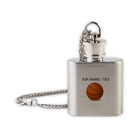 Custom Orange Basketball Flask Necklace