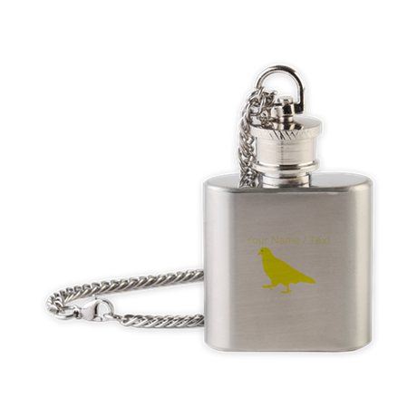 Custom Yellow Pigeon Silhouette Flask Necklace