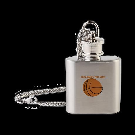Custom Orange Basketball Sketch Flask Necklace