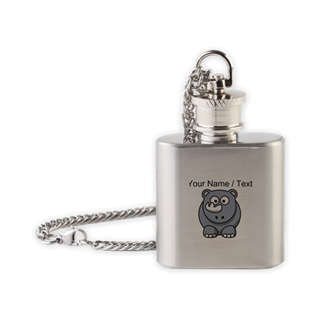 Custom Cartoon Baby Rhino Flask Necklace