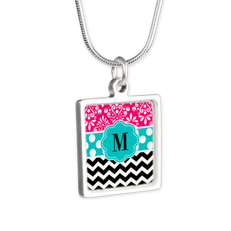 Pink Teal Chevron Monogram Necklaces