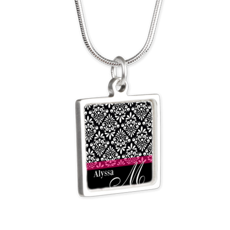 Black Pink Damask Personalized Necklaces