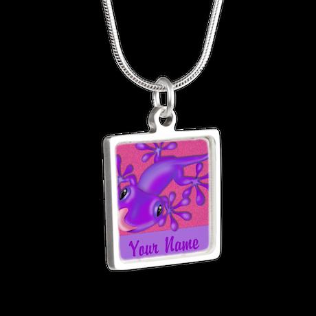 Pink Purple Gecko Personalized Silver Square Neckl