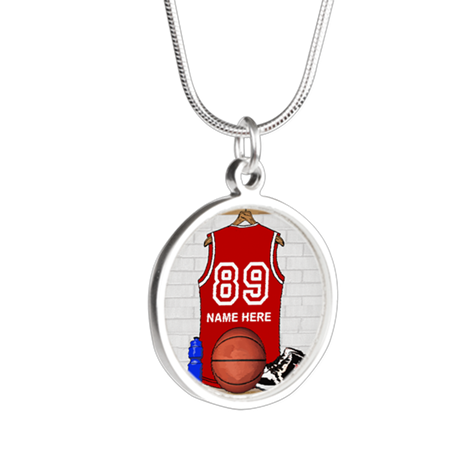 Personalized Basketball Jerse Silver Round Necklac