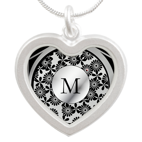 Ornate patterned monogram silver and black print S