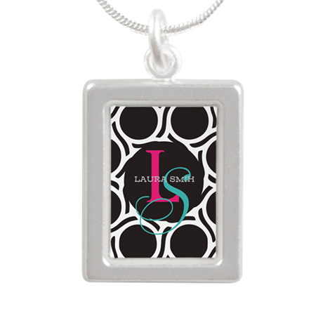 Modern and Elegant Monogram Silver Portrait Neckla