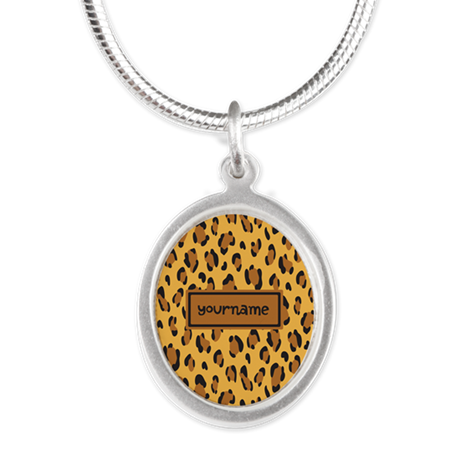 Personalized Name Leopard Silver Oval Necklace
