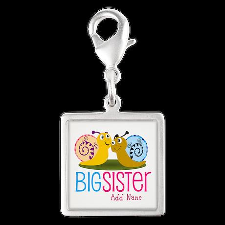 Snail Big Sister Silver Square Charm