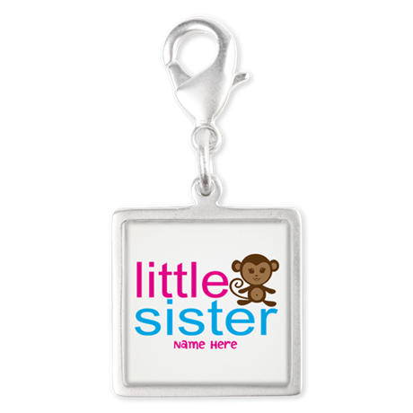 Monkey Big Sister Silver Square Charm