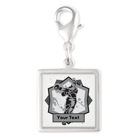 Personalized Boxer Silver Square Charm