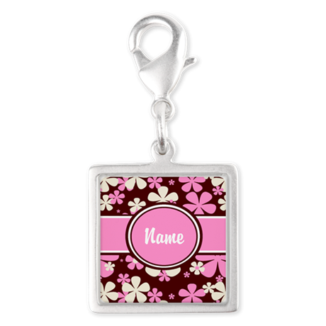 Pink and Brown Personalized Silver Square Charm