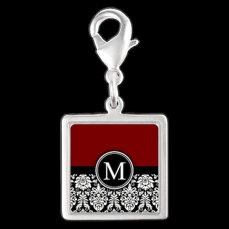 Maroon Monogrammed Black White Damask Charms