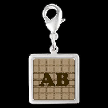 Monogram Brown Plaid Style Pattern Charms