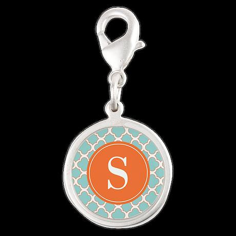Quatrefoil Turquoise White Orange with Monogram Ch