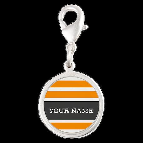 Orange and White Stripes Personalized Silver Round