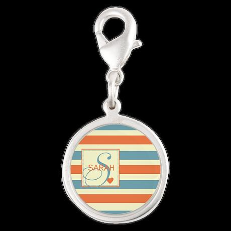 Mid-Tone Stripe Monogram - Personalized Silver Rou
