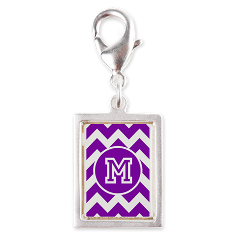 Monogram Hot Purple Chevron Charms