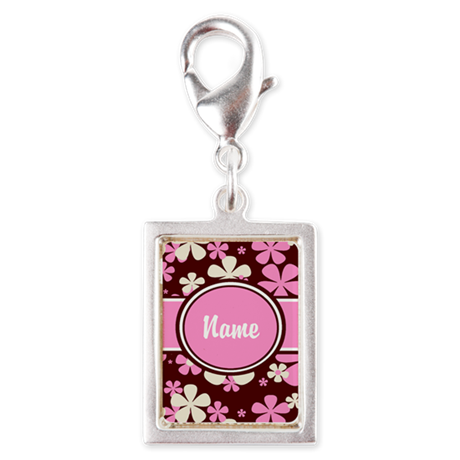 Pink and Brown Personalized Silver Portrait Charm
