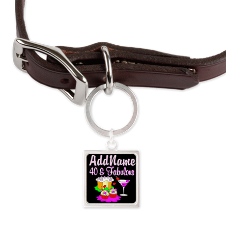40TH PARTY GIRL Large Square Pet Tag