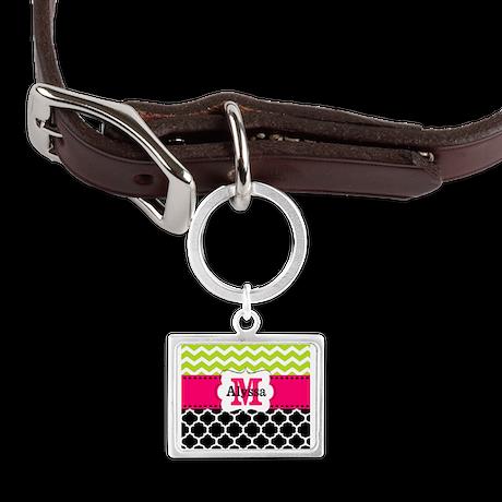Pink Green Black Chevron Personalized Pet Tags