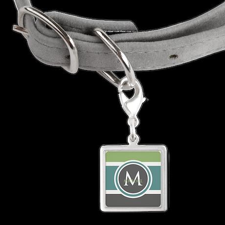 Elegant Modern Monogram Small Square Pet Tag