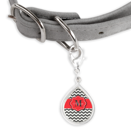Gray and Coral Chevron Personalized Pet Tags
