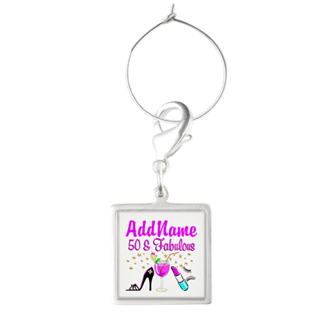 GORGEOUS 50TH Square Wine Charm