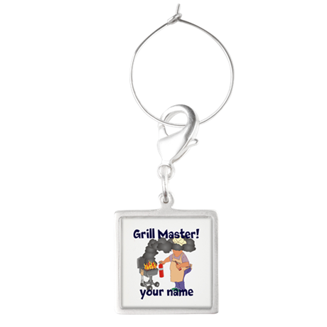 Personalized Grill Master Square Wine Charm