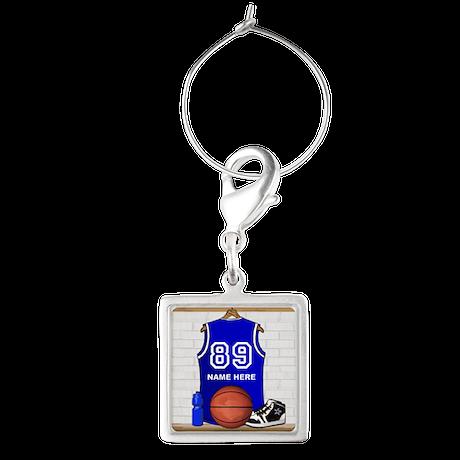Personalized Basketball Jerse Square Wine Charm