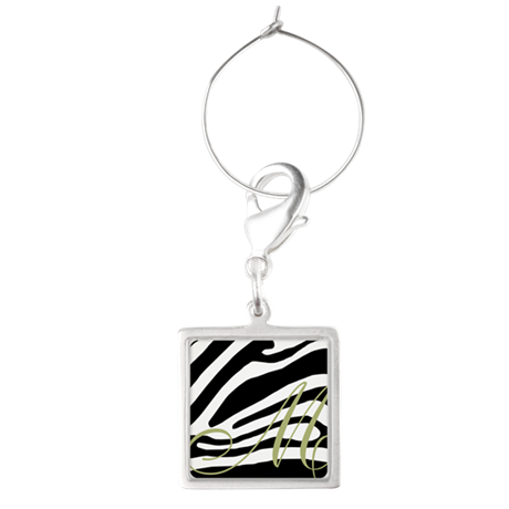 Zebra Print and Gold Initial Wine Charms