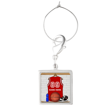 Personalized Basketball Jerse Square Wine Charm