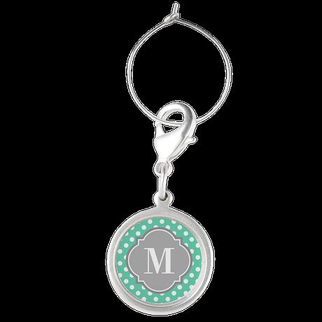 Monogrammed Mint White Polka Dots Wine Charms