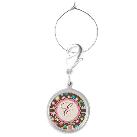 Personalized Name Flower Pattern Wine Charms
