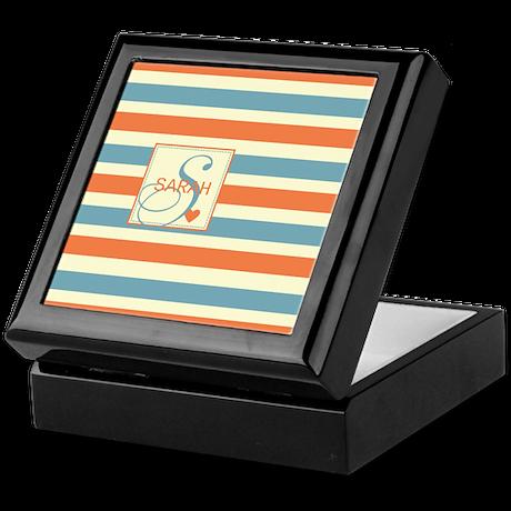 Mid-Tone Stripe Monogram - Personalized Keepsake B