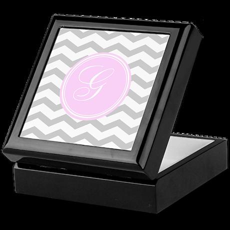 Pink and Grey Monogram Chevron Keepsake Box