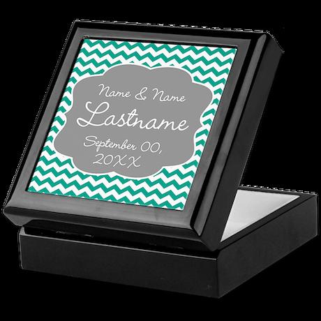 Chevrons for a Wedding - teal Keepsake Box
