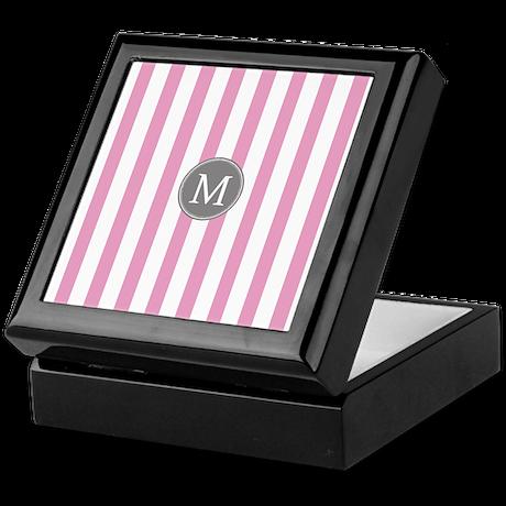 Pink Gray Stripes Monogram Keepsake Box