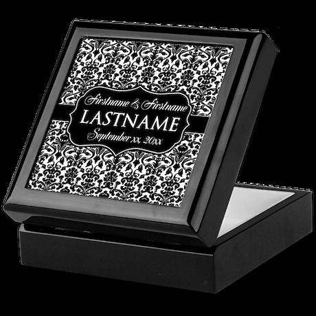 Wedding Favor - Black White Damask Keepsake Box