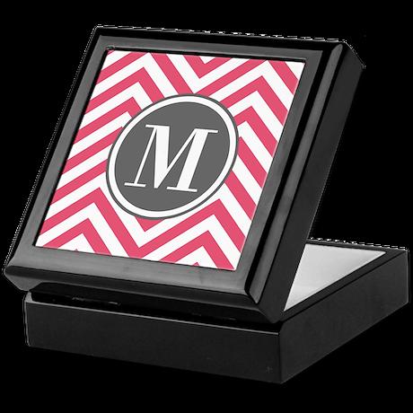 Pink Monogram Zigzag Pattern Keepsake Box