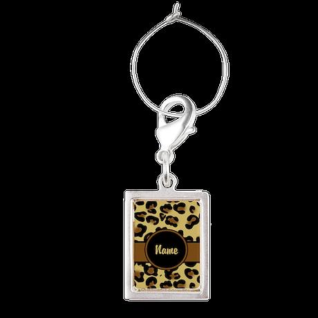 Leopard Print Personalized Portrait Wine Charm