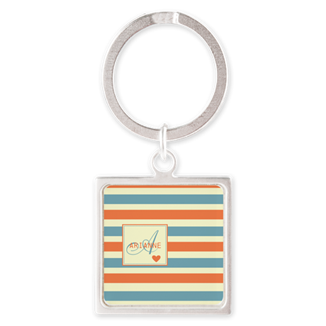 Beautiful Stripe Pattern Monogram Square Keychain