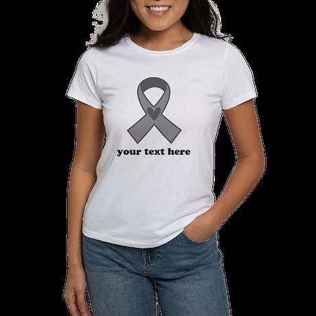Personalized Gray Ribbon Women's T-Shirt