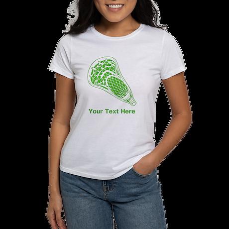 Lacrosse Crosse. Green Text. Women's T-Shirt