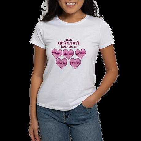 Personalized Grand kids hearts Women's T-Shirt