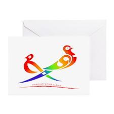 Rose rainbow birds Greeting Cards (Pk of 10)