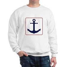 Nautical Anchor - White Blue and Red Sweatshirt