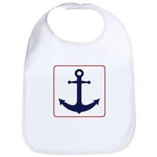 Nautical Anchor - White Blue and Red Bib