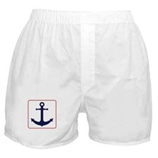 Nautical Anchor - White Blue and Red Boxer Shorts