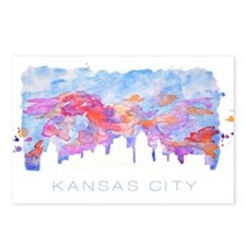 Kansas City Skyline Watercolor Postcards (Package